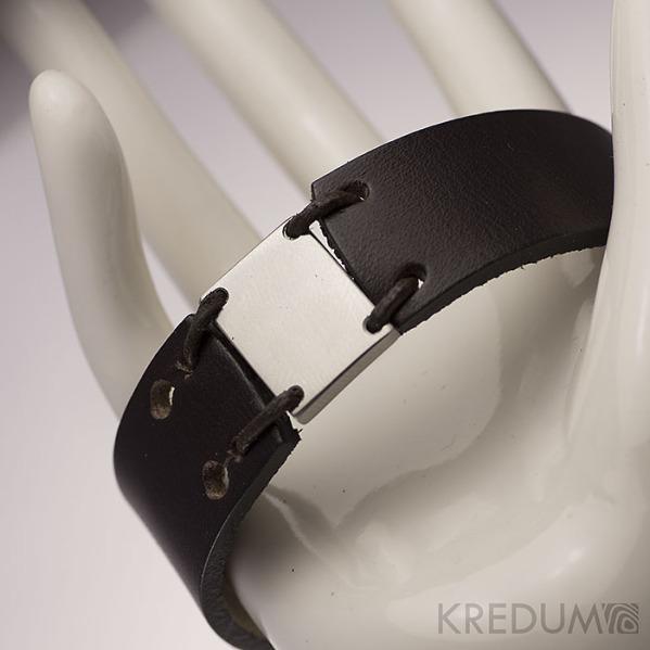 Kožený náramek - Manus 20 Steel L černý