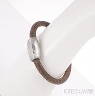 Damasteel korálek - pravidelné plošky/symetrický - Samuel náramek hnědý