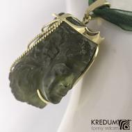 Přívěsek vltavín a zlato - Queen Moldavit