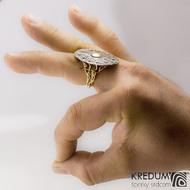 Štítový prsten damasteel a zlato - Baobab