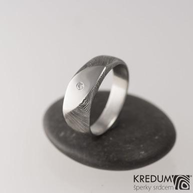 Zásnubní prsten ocel damasteel a diamant 1,7 - Intimity Slim, S2030