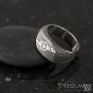 Zásnubní prsten ocel damasteel a diamant 3 mm - Intimity, velikost 52