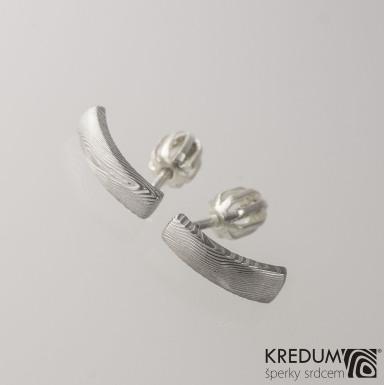 Kované damasteel náušnice - Moon, dřevo světlé, produkt č. 2054