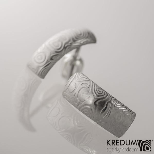 Kované damasteel naušnice - Moon, kolečka světlá, produkt č. 2057