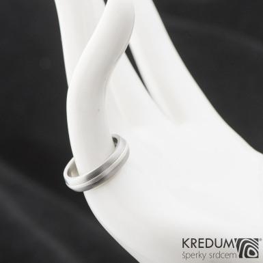 Duori Silver - snubní prsten z nerezové oceli a stříbrem, velikost 53
