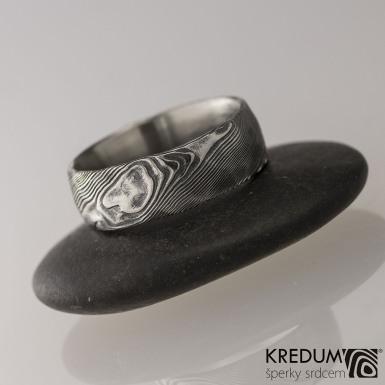 Snubní prsten nerezová ocel damasteel - Natura, velikost 52