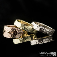 Golden Draill - Zlaté snubní prsteny  - červené + žlutá + bílé zlato