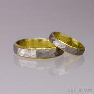 Snubní prsteny nerezová ocel a zlato - Cygnus yelow