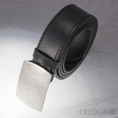 Gentleman 4 - produkt K0793 - Kožený opasek a kovaná spona damasteel - komplet