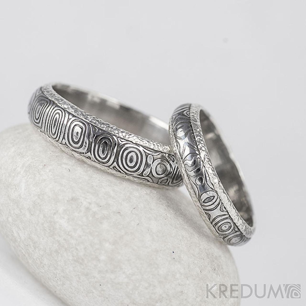 Stribrne Snubni Prsteny A Damasteel Luna Kolecka Vyroba Hand