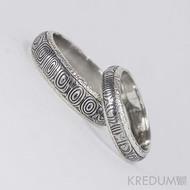 Stříbrné snubní prsteny a damasteel - Luna - kolečka