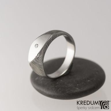 Intimity Slim a čirý diamant 1,7 mm, dřevo - Zásnubní damasteel prsten