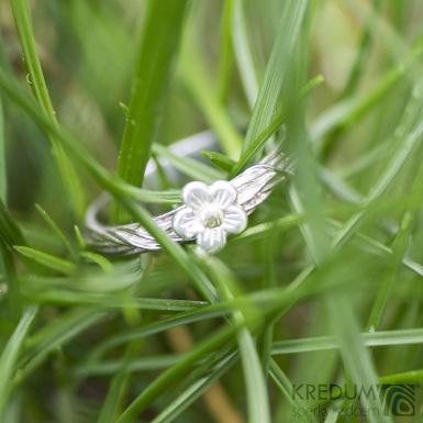 Gordik Flower Ag/Au - Motaný snubní prsten nerezový