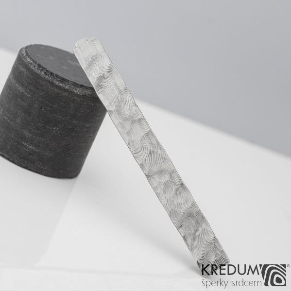 Natura white - Kovaná spona na kravatu damasteel