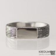 Kovaný prsten z oceli damasteel - GLINT, velikost 63