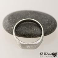 Kovaný prsten damasteel a diamant 2,00 mm - Leila - dřevo, velikost 53