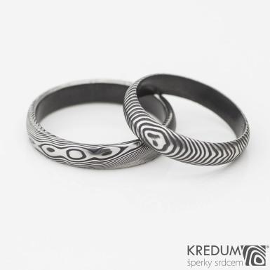 černění povrchu DLC - prsteny damasteel Prima , včetně vnitřku prstenů