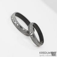 černění povrchu DLC - prsteny damasteel Prima - struktura dřevo a čárky