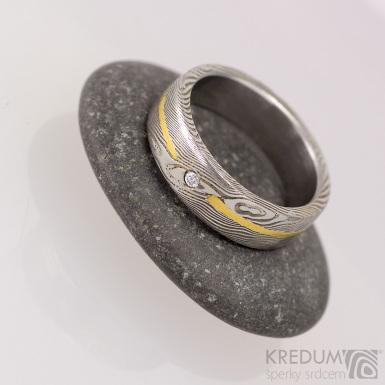 Goda a diamant 1,7 mm struktura dřevo - Snubní prsten damasteel a zlato, S1728