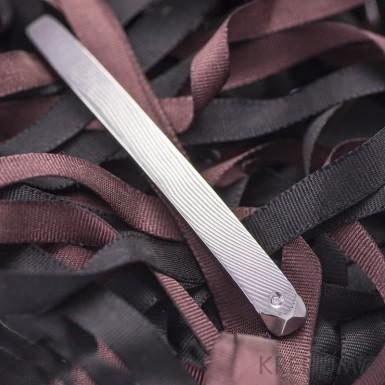Adamas a čirý diamant 1,5 mm - Kovaná spona na kravatu damasteel, SK1108