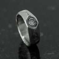 ALANE - damasteel prsten a diamant 2,7 mm  - struktura dřevo