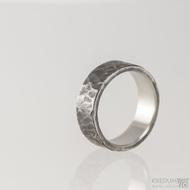 Archeos - Nerezové snubní prsteny - velikost 60, šířka 7 mm, tloušťka 1,8 mm, nepravidelné okraje - S1558
