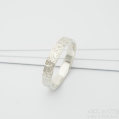 Archeos silver - Stříbrný kovaný snubní prsten