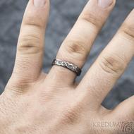 Archeos - velikost 62 CF, šířka 4,2 mm, tloušťka 1,4 mm - Kovaný nerezový snubní prsten, SK1303 (3)