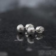 Buttonky - Kované damasteel náušnice