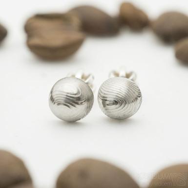 Buttonky - Kované damasteel náušnice - SK2831