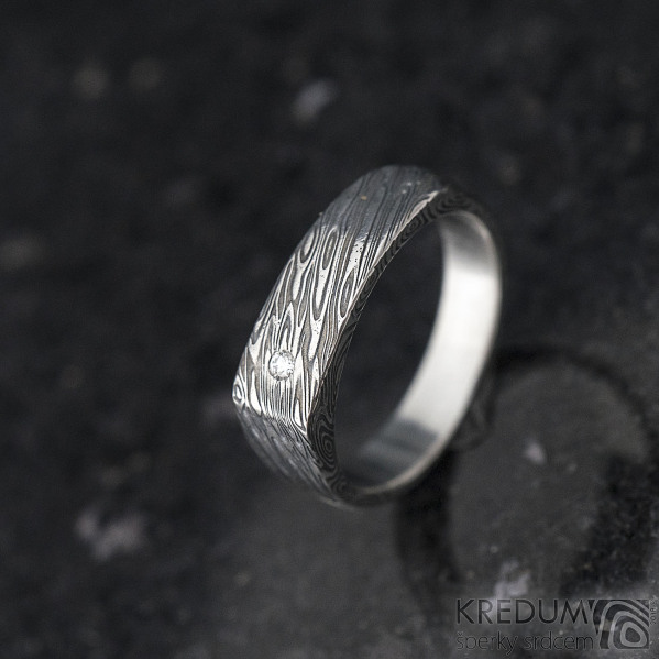 Cleans a čirý diamant 1,7 mm - velikost 54, šířka 5,5 do dlaně 4 mm, voda - lept extra - Damasteel snubní prsteny - k 1347 (6)