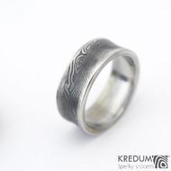 Collium line - vel 53 7,2 mm 1,6 mm dřevo - 100% zatmavené - Damasteel snubní prsteny - sk1304  (2)