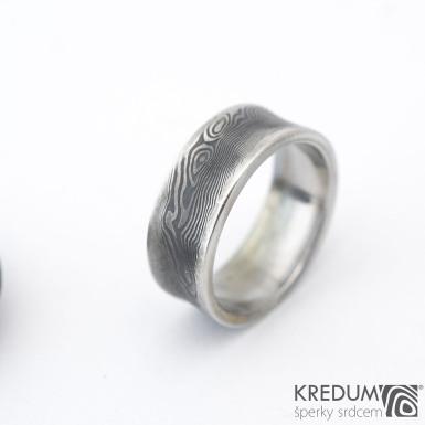 Collium line - vel 53 7,2 mm 1,6 mm dřevo - 100% zatmavené - Damasteel snubní prsteny - sk1304   (3)
