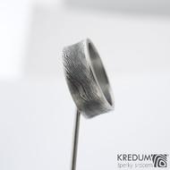 Collium line - vel 53 7,2 mm 1,6 mm dřevo - 100% zatmavené - Damasteel snubní prsteny - sk1304  (4)