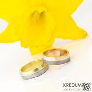 Columba red titan + yellow - Prsteny z červeného zlata a titanu a žlutého zlata a damasteelu