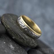 Cygnus yellow - Snubní prsteny nerezová ocel a zlato, SK1630 - nerezová ocel s povrchem BG, matný