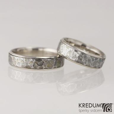 Cygnus white - Snubní prsteny nerezová ocel a zlato