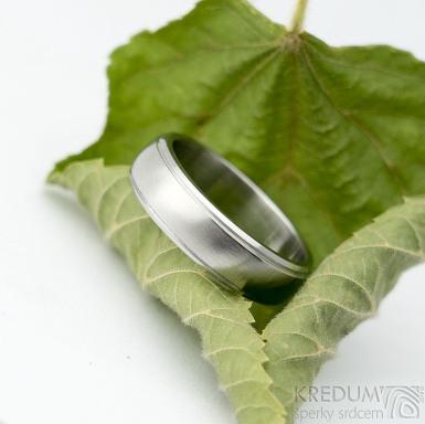 Cygnus steel - matný s leštěnými okraji - Snubní prsten z nerezové oceli