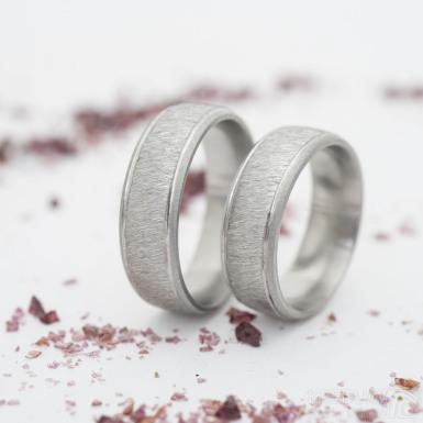 Cygnus steel - hrubě matný s matnými okraji - Snubní prsten z nerezové oceli