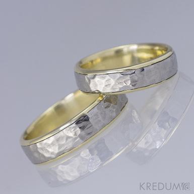 Cygnus yellow - Snubní prsten nerezová ocel a žluté zlato