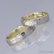 Snubní prsteny nerezová ocel a zlato - Cygnus yellow