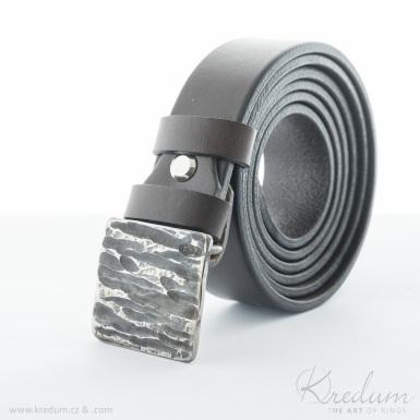 Kovaná nerez spona 3 cm - Kavalír 3X - Kant + kožený pásek 3X - SK4131