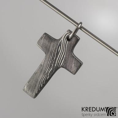 Křížek nerezová ocel damasteel - s očkem
