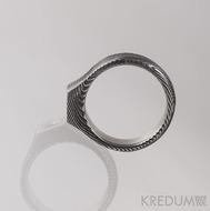 Damien a moissanite 3 mm - 51 šířka 4,5 - 6 mm,  tloušťka 1,8 - 3,8 mm, TW, 100% TM - Snubní prsteny damasteel S1417 (1)