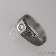 Damien a moissanite 3 mm - 51 šířka 4,5 - 6 mm,  tloušťka 1,8 - 3,8 mm, TW, 100% TM - Snubní prsteny damasteel S1417 (2)