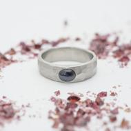 Draill a kabošon safír - šířka 5 mm, silnější hlava, matný - Kovaný prsten z nerezové oceli