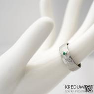 Draill a smaragd 2 mm do Ag - vel 53 6,9 1,2 mm lesklý - Nerezový snubní prsten - sk1456 (5)