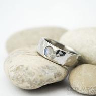 Draill lesklý a měsíční kámen - velikost 51, šířka 6 mm, tloušťka střední - Nezerové snubní prsteny - k 1514