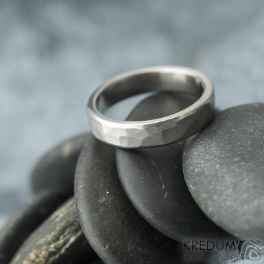 Draill line titan - matný - Kovaný snubní prsten