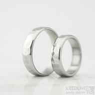 Draill line - velikost 48 a 57, šířka 5 mm, světlé, lesklé - Kované nerezové snubní prsteny - k 1451 (3)